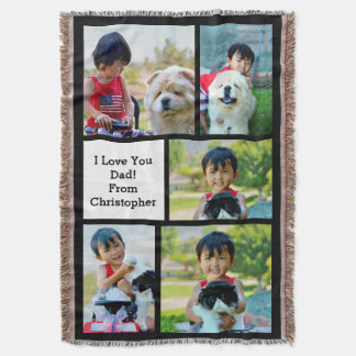 5 Photo Collage Picture Father's Day Throw