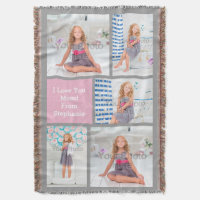5 Photo Collage Picture Mother's Day Throw Blanket