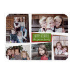 5 Photo Collage Retro Happy Holidays Red Green Vinyl Magnets