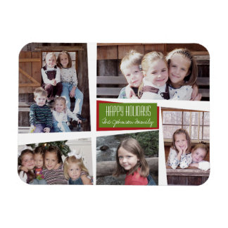 5 Photo Collage Retro Happy Holidays Red Green Rectangular Photo Magnet