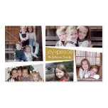 5 Photo Holiday Collage Retro Joy and Peace - Gold Business Card Template