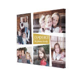 5 Photo Holiday Collage Retro Joy and Peace - Gold Stretched Canvas Prints