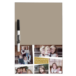 5 Photo Holiday Collage Retro Joy and Peace - Gold Dry-Erase Board