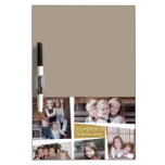 5 Photo Holiday Collage Retro Joy and Peace - Gold Dry Erase Board