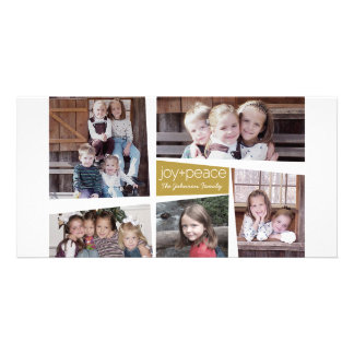 5 Photo Holiday Collage Retro Joy and Peace - Gold Photo Card