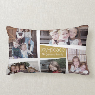 5 Photo Holiday Collage Retro Joy and Peace - Gold Pillow