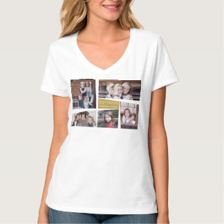 5 Photo Holiday Collage Retro Joy and Peace - Gold T-Shirt