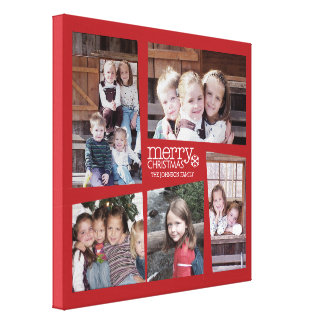 5 Photo Holiday Collage Retro Joy and Peace Green Stretched Canvas Print