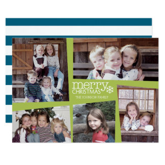 5 Photo Holiday Collage Retro Joy and Peace Green Card