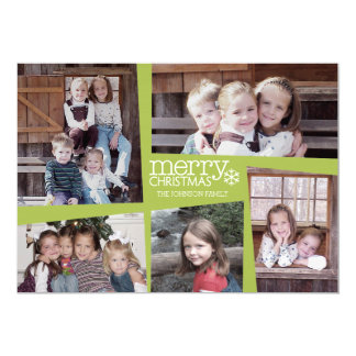 5 Photo Holiday Collage Retro Joy and Peace Green 5x7 Paper Invitation Card
