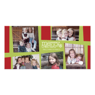 5 Photo Holiday Collage Retro Joy and Peace - Lime Card