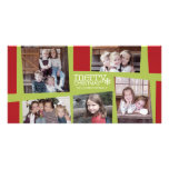 5 Photo Holiday Collage Retro Joy and Peace - Lime Photo Card