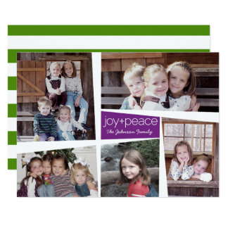 5 Photo Holiday Collage Retro Joy and Peace Purple Card