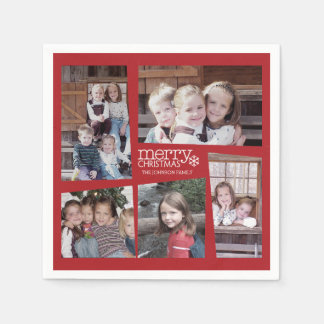 5 Photo Holiday Collage Retro Merry Christmas Paper Napkin