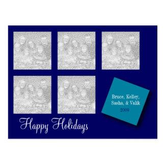 5 Photo Holiday Greeting Blue Postcard