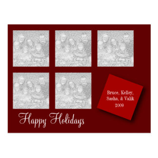 5 Photo Holiday Greeting Red Postcard