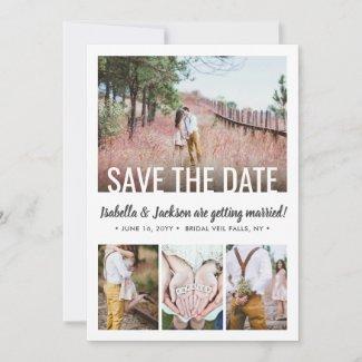 5 Photo Modern Minimal Typography Simple Wedding Save The Date