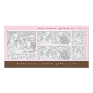5 Photo Pink and Brown Montage Birth Announcement Photo Card