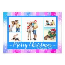 5 Photos Colorful Snow - 3x5 Christmas Card