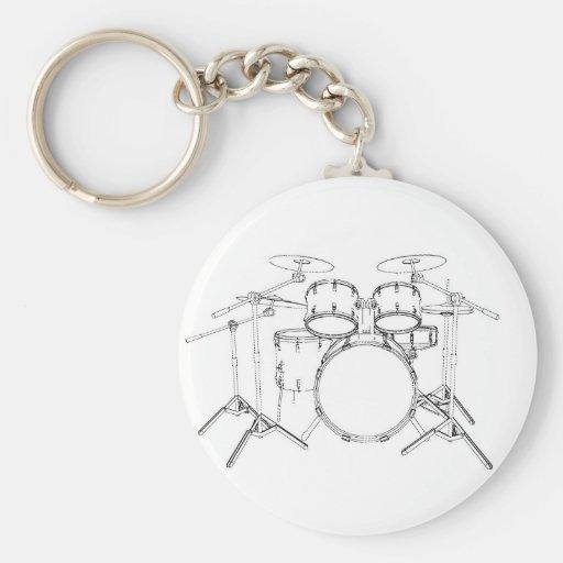 5 Piece Drum Kit: Black & White Drawing: Basic Round Button Keychain