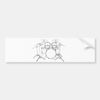 5 Piece Drum Kit: Black & White Drawing: Bumper Sticker