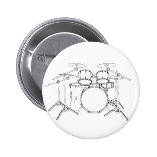 5 Piece Drum Kit: Black & White Drawing: 2 Inch Round Button