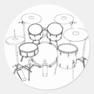 5 Piece Drum Kit: Black & White Drawing: Classic Round Sticker