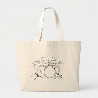 5 Piece Drum Kit: Black & White Drawing: Large Tote Bag