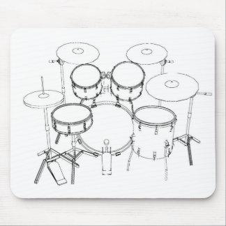 5 Piece Drum Kit: Black & White Drawing: Mouse Pad
