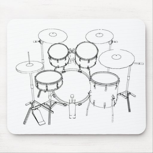 5 Piece Drum Kit: Black & White Drawing: Mouse Pads