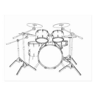 5 Piece Drum Kit: Black & White Drawing: Postcard
