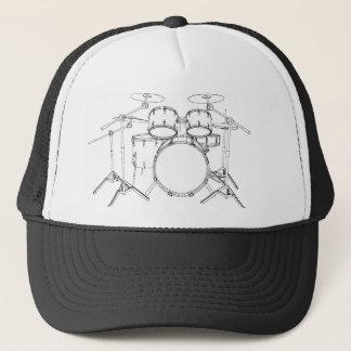 5 Piece Drum Kit: Black & White Drawing: Trucker Hat