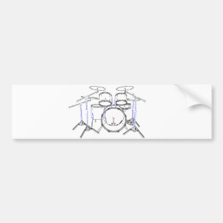 5 Piece Drum Kit: Marker Drawing: Bumper Sticker