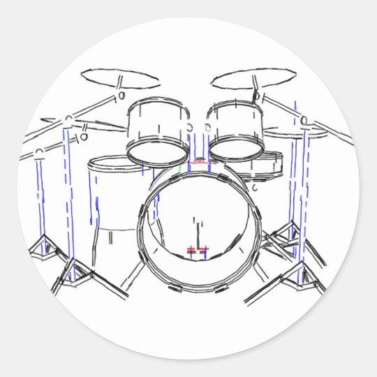 5 Piece Drum Kit: Marker Drawing: Classic Round Sticker