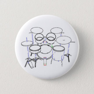 5 Piece Drum Kit: Marker Drawing: Pinback Button