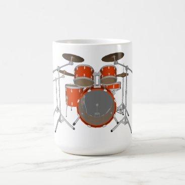 Coffee Themed 5 Piece Drum Kit - Orange - Coffee Mug - Drum Set