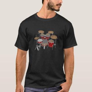 5 Piece Drum Kit - Red - Black T-Shirt: Drums T-Shirt