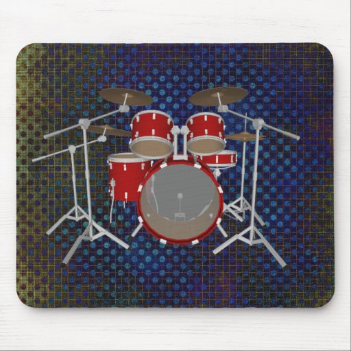 5 Piece Drum Kit - Red Finish - Drums Mousepad