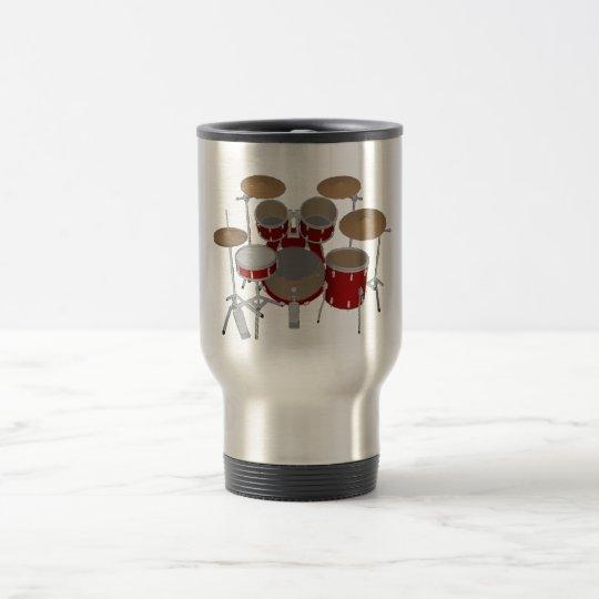 5 Piece Drum Kit - Red - Travel Mug - Drum Set