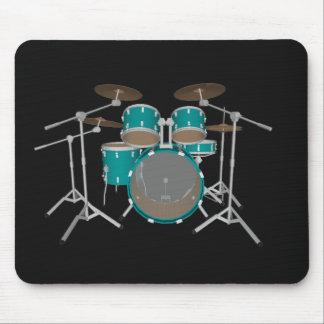 5 Piece Drum Set - Green Finish - Black Mousepad