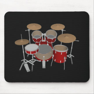 5 Piece Drum Set - Red Drums - Black Mousepad
