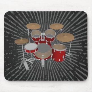5 Piece Drum Set - Red Drums - Mousepad