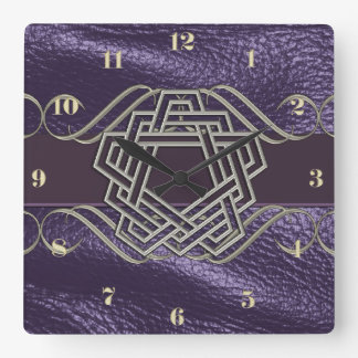 5 Pointed Endless Knot on Purple Leather Square Wall Clock