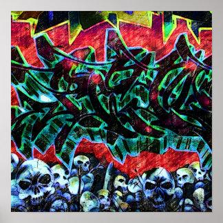5 Pointz New York Skulls Graffiti Poster