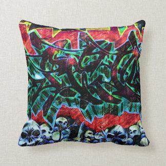 5 Pointz New York Skulls Graffiti Throw Pillow