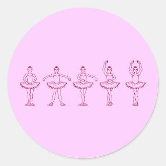 5 posiciones de ballet pegatina redonda