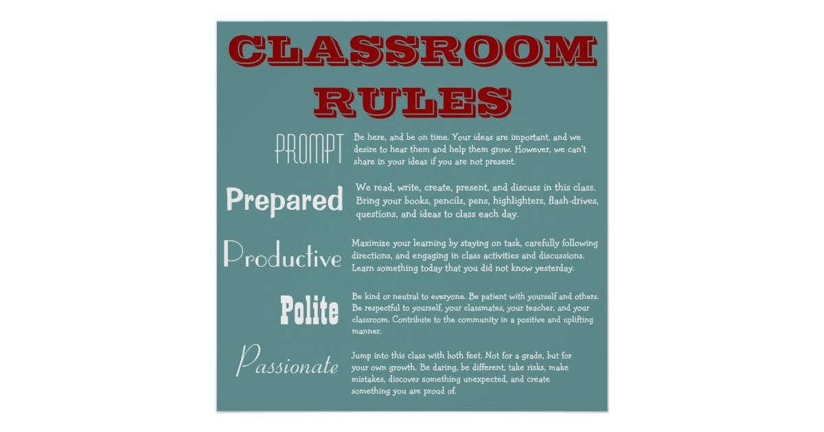 5 P S Classroom Rules Poster Zazzle Com