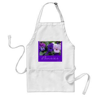 5 Purple Lavender Blue Pansies Adult Apron