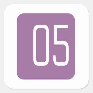 #5 Purple Square Square Sticker