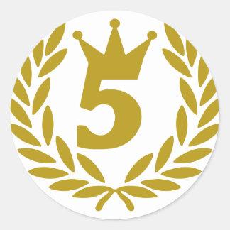 5-real-laurel-crown classic round sticker